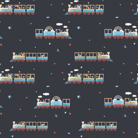 Beautiful vector seamless baby pattern with cute watercolor trains. Stock illustration. Illustration
