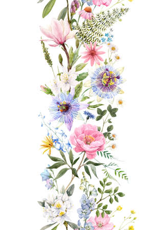 Beautiful vertical seamless floral pattern with watercolor hand drawn gentle summer flowers. Stock illustration. Natural artwork. Stock Photo