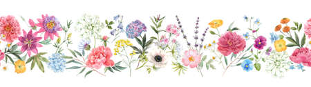Beautiful horizontal seamless floral pattern with watercolor hand drawn gentle summer flowers. Stock illustration. Natural artwork.