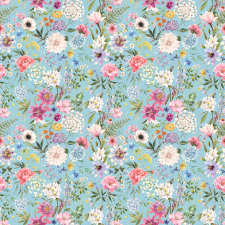 Beautiful seamless floral pattern with watercolor hand drawn gentle summer flowers. Stock illustration. Natural artwork. Stock Photo