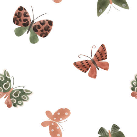 Beautiful vector seamless pattern with cute watercolor butterflies. Stock illustration. Illustration