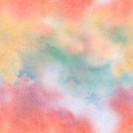 Beautiful seamless colorful pattern with hand drawn watercolor blur. Stock illkustration. Sunset sky.