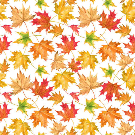 Beautiful seamless autumn pattern with watercolor colorful maple leaves. Stock illustration.