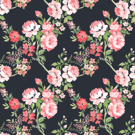 Beautiful seamless pattern with hand drawn watercolor summer pink gentle flowers. Stock floral illustration.
