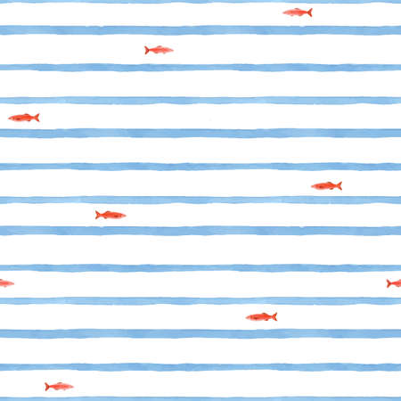 Beautiful vector seamless pattern with cute watercolor red fish and blue stripes. Stock illustration.