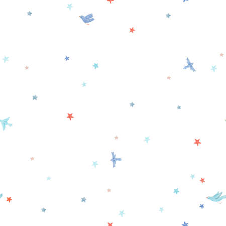 Beautiful vector seamless pattern with cute watercolor birds and stars. Stock illustration.