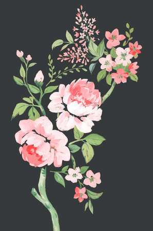 Beautiful composition with hand drawn watercolor summer pink gentle flowers. Stock floral bouquet illustration. Stock Photo