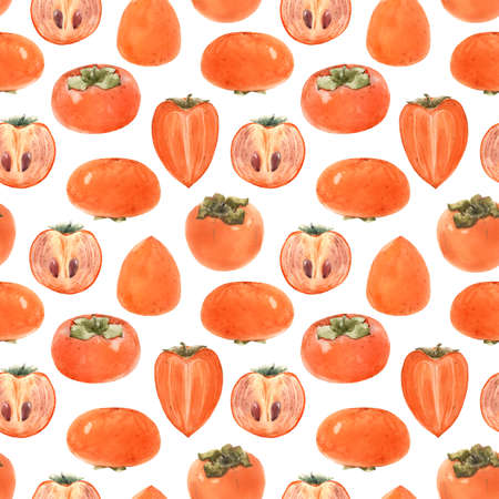 Beautiful seamless pattern with watercolor hand drawn persimmon fruit. Stock illustration.