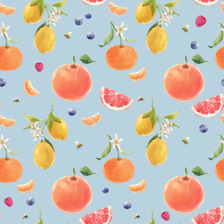 Beautiful seamless pattern with watercolor hand drawn citrus orange lemon grapefruit fruits. Stock illustration.