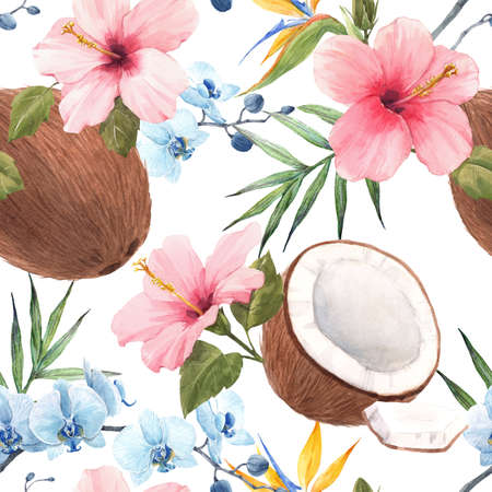 Beautiful seamless tropical pattern with watercolor hand drawn coconut, rose hibiscus and blue orchid. Stock illustration. Stock Photo