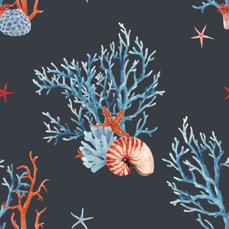 Beautiful vector seamless underwater pattern with watercolor sea life coral shell and starfish. Stock illustration.