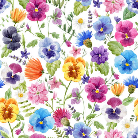 Beautiful vector seamless floral pattern with watercolor gentle colorful summer pansy flowers. Stock illustration.