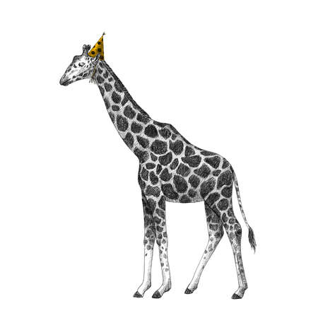 Beautiful stock illustration with cute hand drawn birthday giraffe on the party.