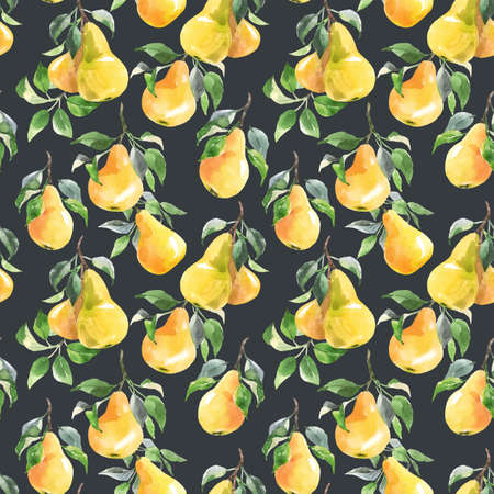 Beautiful seamless pattern with hand drawn watercolor tasty summer pear fruits. Stock illustration.