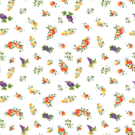 Beautiful seamless pattern with hand drawn watercolor tasty summer pear apple grape fruits. Stock illustration.