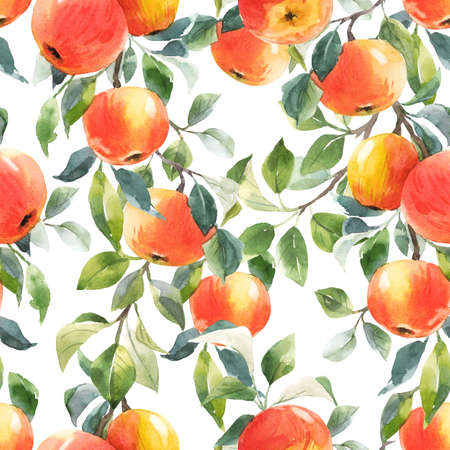 Beautiful seamless pattern with hand drawn watercolor tasty summer red apple fruits. Stock illustration.