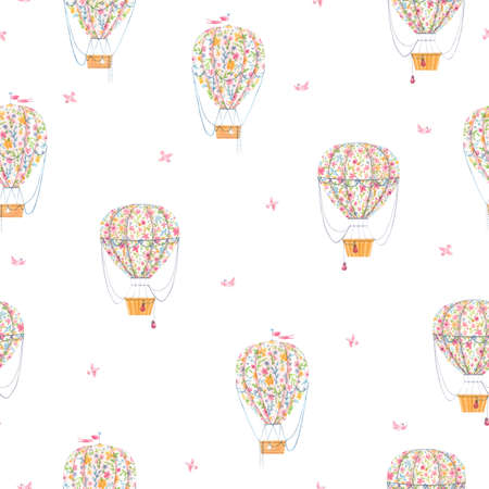 Beautiful seamless pattern with cute watercolor hand drawn air baloons with gentle flowers. Stock illustration. Foto de archivo