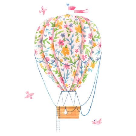 Beautiful image with cute watercolor hand drawn air baloon with gentle flowers. Stock illustration.