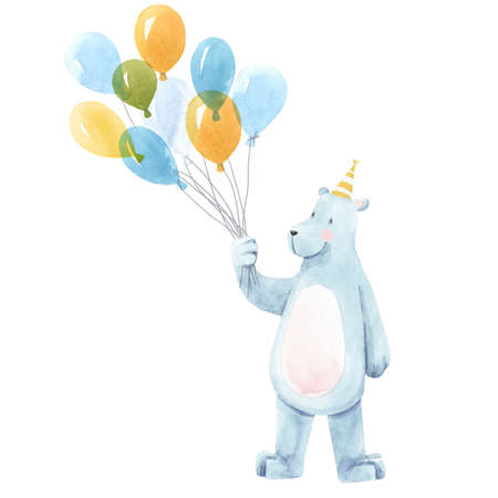 Beautiful baby birthday illustration with hand drawn watercolor cute bear animal with air baloons.