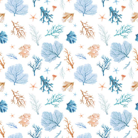 Beautiful vector seamless underwater pattern with watercolor sea life colorful corals. Stock illustration. Vectores