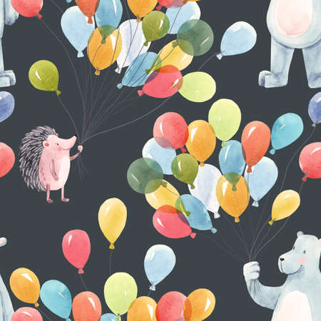 Beautiful baby birthday seamless pattern with hand drawn watercolor cute hedgehog bear animals and air baloons. Stock illustration. Foto de archivo