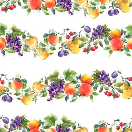 Beautiful horizontal seamless pattern with hand drawn watercolor tasty summer pear apple grape cherry plum fruits. Stock illustration. Foto de archivo
