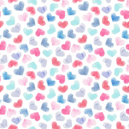 Beautiful seamless pattern with gentle watercolor hand drawn purple pink blue hearts. Stock illustration.