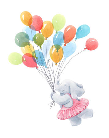 Beautiful baby birthday illustration with hand drawn watercolor cute elephant animal with air baloons.