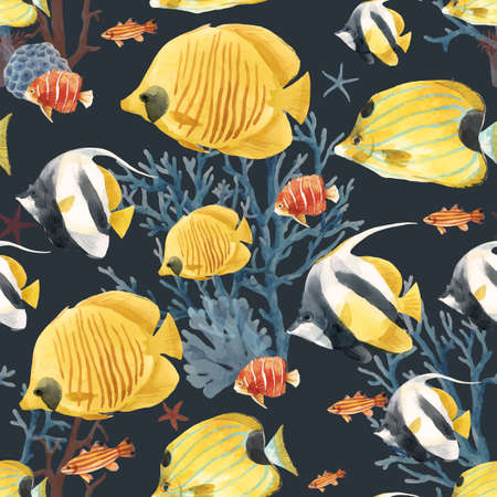 Beautiful vector seamless underwater pattern with cute watercolor colorful fish. Stock illustration. Vectores