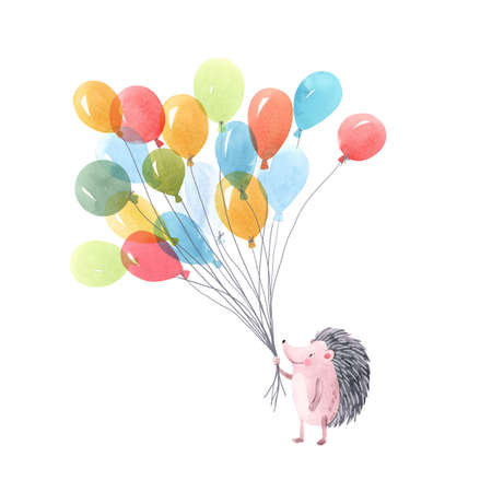 Beautiful baby birthday illustration with hand drawn watercolor cute hedgehog animal with air baloons. Foto de archivo