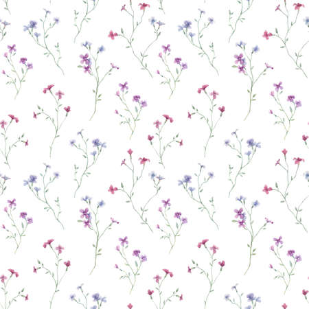 Beautiful seamless floral pattern with gentle watercolor hand drawn purple wild field flowers. Stock illustration.