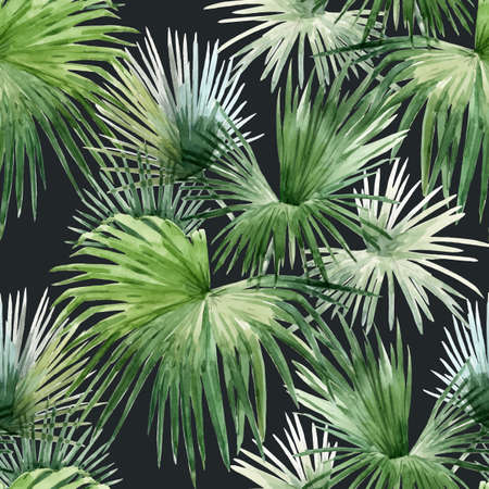Beautiful vector seamless pattern with watercolor tropical palm leaves. Stock illustration.
