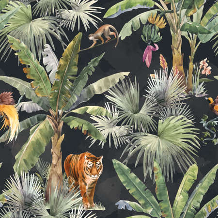 Beautiful vector seamless pattern with watercolor tropical palms and jungle animal tiger. Stock illustration.