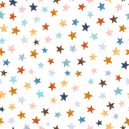 Beautiful vector seamless pattern with watercolor colorful stars. Stock illustration.