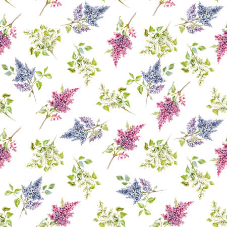 Beautiful vector floral spring seamless pattern with watercolor gentle lilac flowers. Stock illustration.