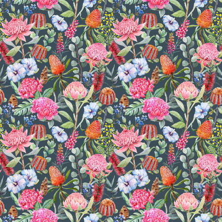Beautiful pattern with hand-drawn watercolor protea banksia and other australian flowers.