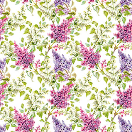 Beautiful floral spring pattern with watercolor gentle lilac flowers. Vectores