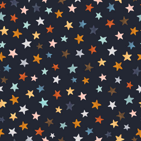 Beautiful pattern with watercolor colorful stars.
