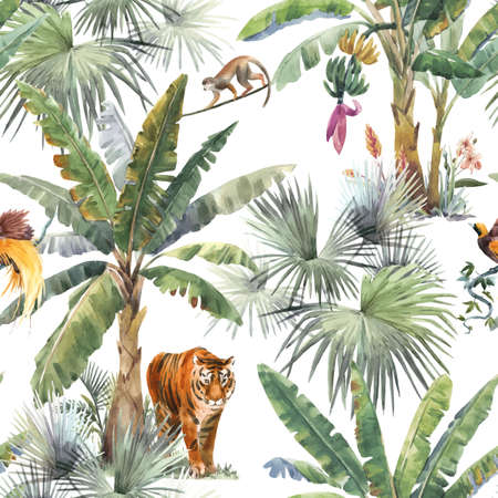 Beautiful pattern with watercolor tropical palms and jungle animals