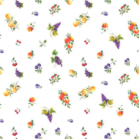 Beautiful seamless pattern with hand drawn watercolor tasty summer pear apple grape cherry plum fruits. Stock illustration. Foto de archivo