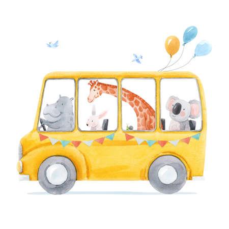 Beautiful stock illustration with cute hand drawn watercolor bus with animals. Rhino giraffe rabbit koala. Little friends.