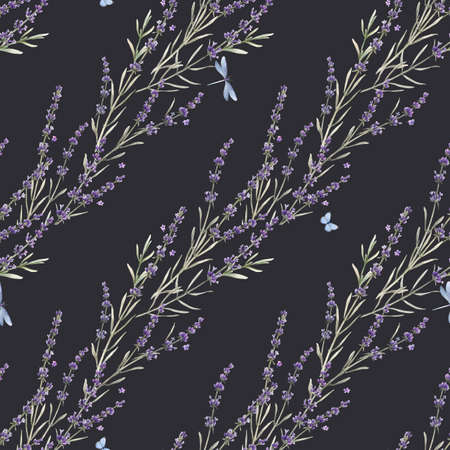 Beautiful seamless floral provence pattern with watercolor hand drawn gentle lavander flowers. Stock illustration.