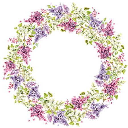 Beautiful floral wreath frame with watercolor hand drawn gentle lilac flowers. Stock illustration.