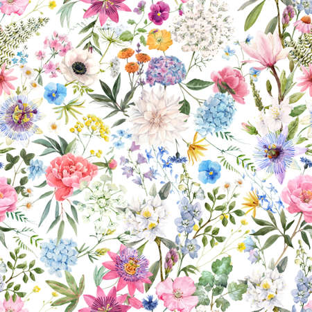 Beautiful vector seamless floral pattern with watercolor hand drawn gentle summer flowers. Stock illustration. Natural artwork.