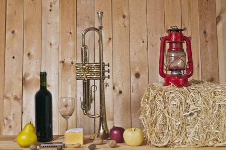 harmonica: trumpet,harmonica,wine,cheese,lantern,assorted fruits and nuts