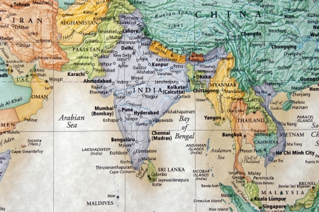 myanmar: map of india and surrounding countries