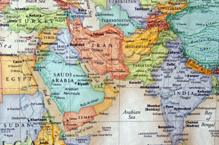 iran: map of iran and the middle east
