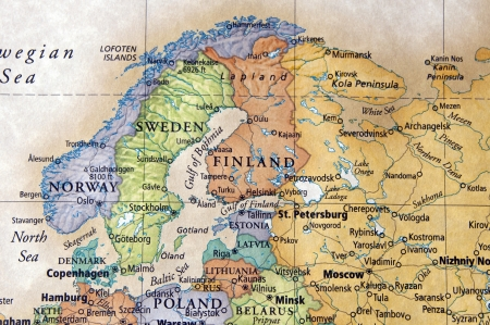 baltic sea: Map of norway,sweden and other scandinavian countries Stock Photo