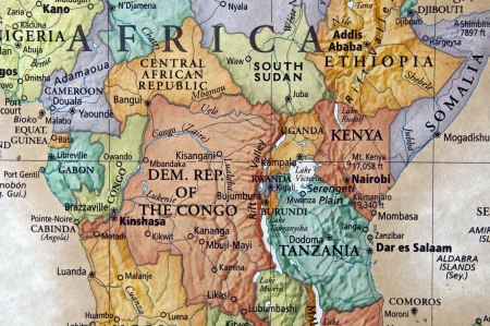 cameroon: map ok kenya and surrounding african countries Stock Photo