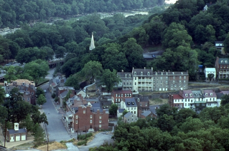 west virginia trees: evening view of harpers ferry west virginia from maryland heights Stock Photo